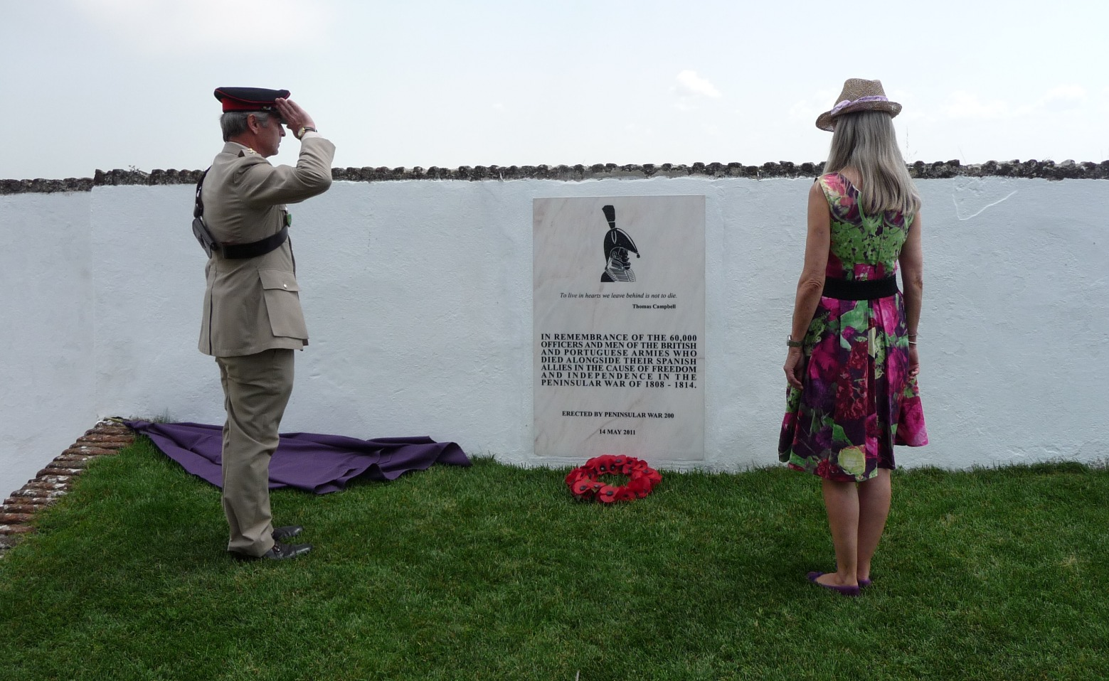 Lady Jane Wellesley and Col. Nick Lipscombe, Dedication of Peninsular War 200 plaque