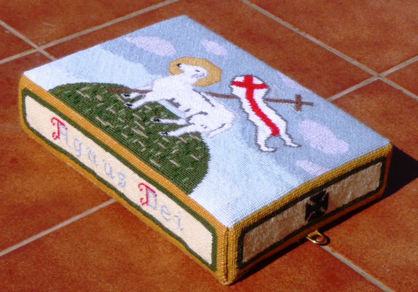Agnus Dei hassock  - stitched by Patricia Valentine